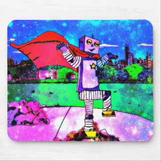 Comic Style Superhero Robot from Outer Space! Mouse Pad