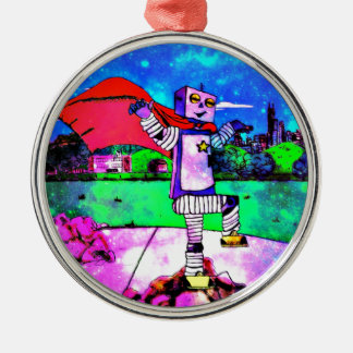 Comic Style Superhero Robot from Outer Space! Christmas Tree Ornaments
