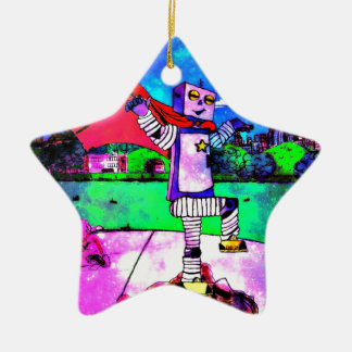 Comic Style Superhero Robot from Outer Space! Ornaments