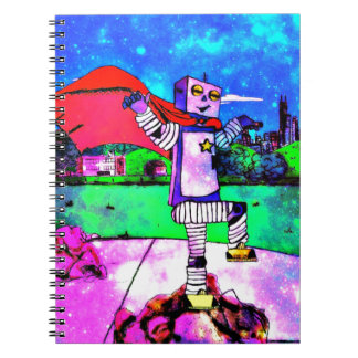 Comic Style Superhero Robot from Outer Space! Spiral Notebook