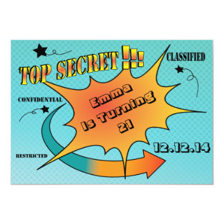 Comic Style Top Secret Surprise Card