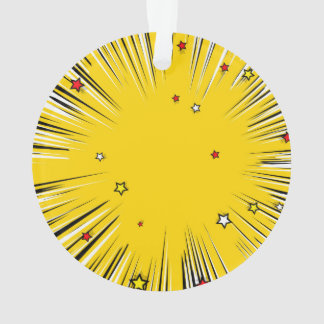 Comic Style Yellow Sunburst with Red Stars