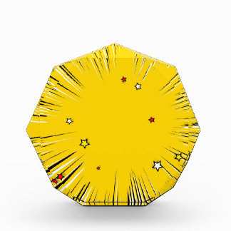 Comic Style Yellow Sunburst with Red Stars Awards