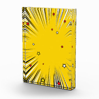 Comic Style Yellow Sunburst with Red Stars Award