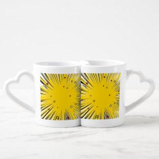 Comic Style Yellow Sunburst with Red Stars Couples Coffee Mug