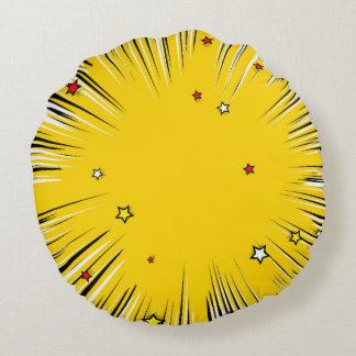 Comic Style Yellow Sunburst with Red Stars Round Pillow