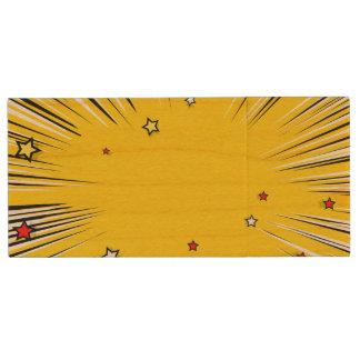 Comic Style Yellow Sunburst with Red Stars Wood USB 2.0 Flash Drive