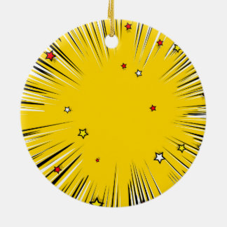 Comic Style Yellow Sunburst with Red Stars Ornaments