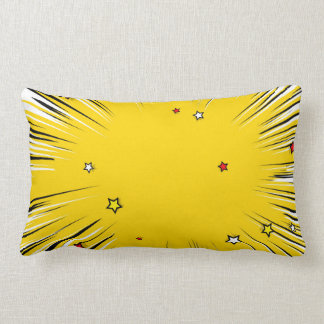Comic Style Yellow Sunburst with Red Stars Pillows