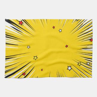 Comic Style Yellow Sunburst with Red Stars Towel