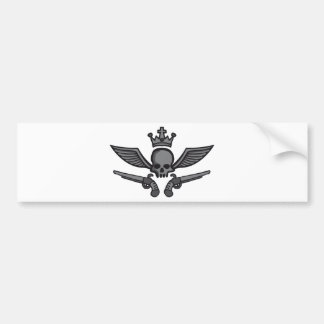 comic styles wing skull bumper sticker