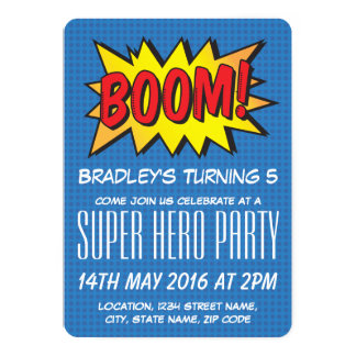 Comic Super Hero Blue Personalized Kids Birthday Card