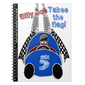 Comic Vintage Race Car - Personalized Notebook