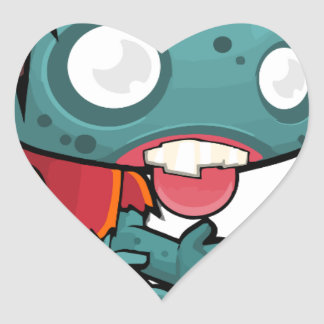 Comic Zombie Boy Heart Sticker