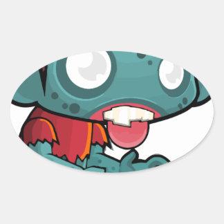 Comic Zombie Boy Oval Sticker