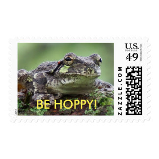 Comical Be Hoppy Tree Frog Postage