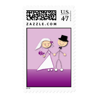 Comical bride and groom postage