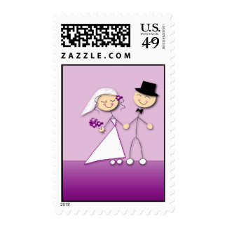 Comical bride and groom postage stamps