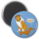 Comical Collie and Dachshund 2 Inch Round Magnet