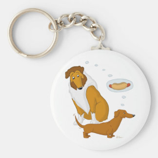 Comical Collie and Dachshund Basic Round Button Keychain