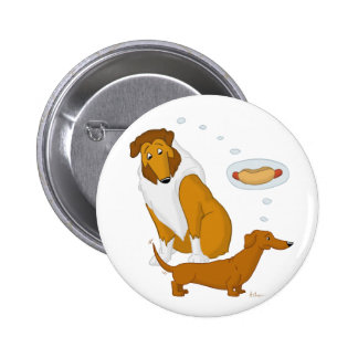 Comical Collie and Dachshund 2 Inch Round Button