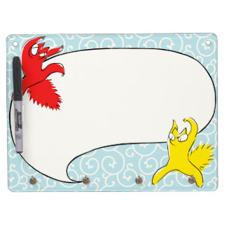 Comical funny quarrel cat Asian illustration Dry Erase Board With Keychain Holder