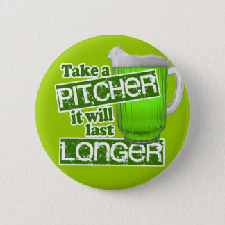 Comical Green Beer Day Pinback Button