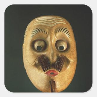 Comical Mask, Noh Theatre Square Sticker