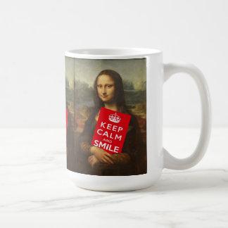 Comical Mona Lisa Says Keep Calm And Smile Coffee Mug