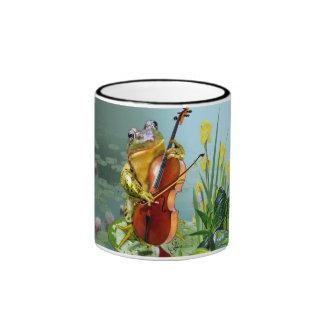 comical mu with frog playing cello ringer mug
