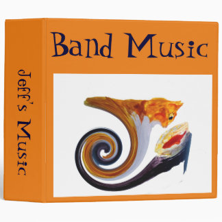 Comical Musical Abstract Ginger Cat 3 Ring Binder