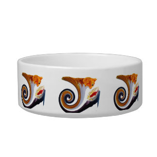 Comical Musical Abstract Ginger Cat Bowl