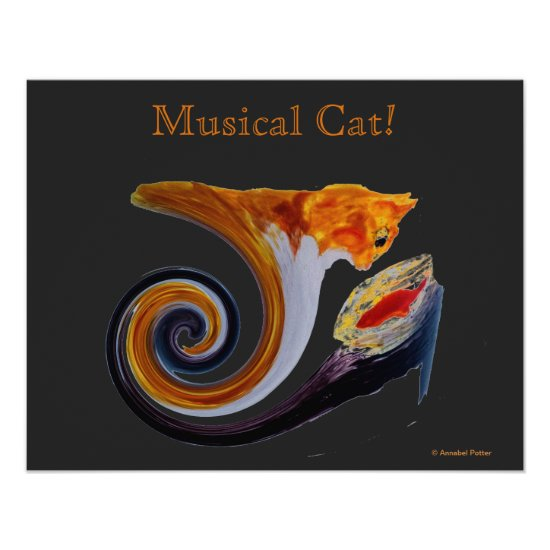 Comical Musical Abstract Ginger Cat Poster