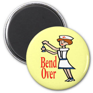 Comical Nurse Bend Over 2 Inch Round Magnet