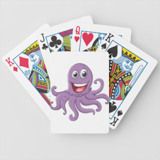 Comical octopus on white bicycle playing cards