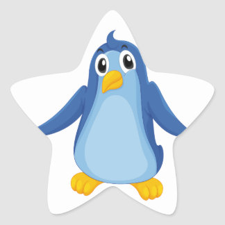 Comical penguin star sticker