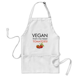 Comical pun VEGAN FROM MA HEAD TOMATOES Adult Apron