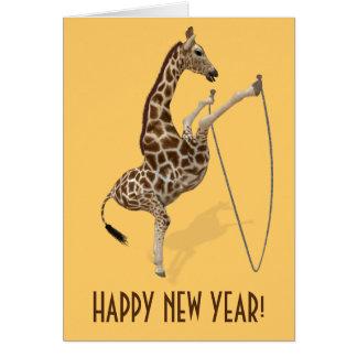 Comical Rope Jump Giraffe Card