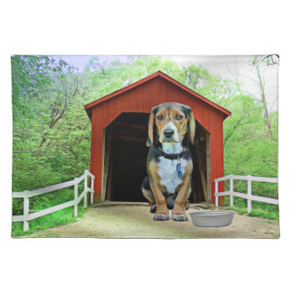 Comical Sandy Creek Covered Bridge Dog House Cloth Placemat