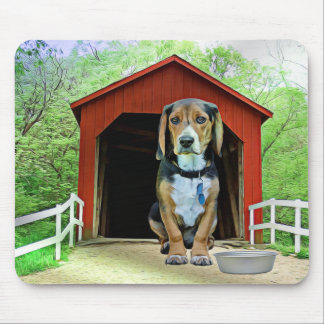 Comical Sandy Creek Covered Bridge Dog House Mouse Pad