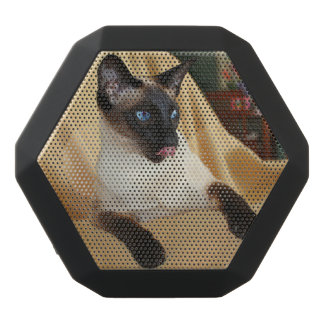 Comical Seal Point Siamese Cat Licking It's Nose Black Bluetooth Speaker
