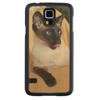 Comical Seal Point Siamese Cat Licking It's Nose Carved Maple Galaxy S5 Case