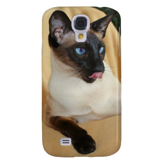 Comical Seal Point Siamese Cat Licking It's Nose Galaxy S4 Case