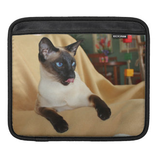 Comical Seal Point Siamese Cat Licking It's Nose iPad Sleeve