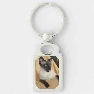 Comical Seal Point Siamese Cat Licking It's Nose Keychain