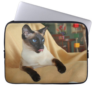 Comical Seal Point Siamese Cat Licking It's Nose Laptop Sleeve