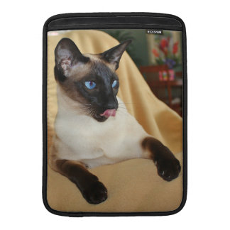 Comical Seal Point Siamese Cat Licking It's Nose MacBook Air Sleeve