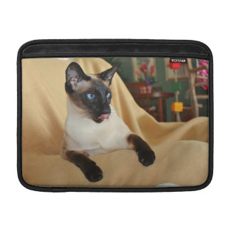 Comical Seal Point Siamese Cat Licking It's Nose MacBook Sleeve
