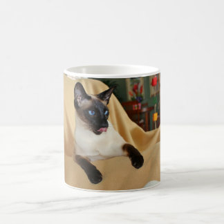 Comical Seal Point Siamese Cat Licking It's Nose Magic Mug