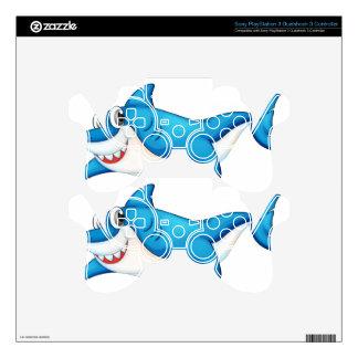 Comical shark illustration PS3 controller decals